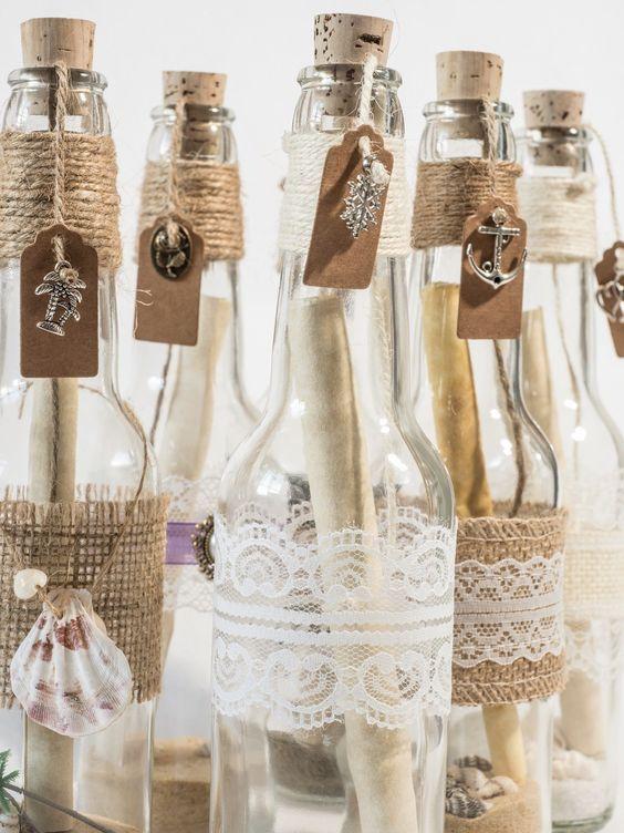 Bomboniere Matrimonio Spiaggia : Partecipazioni tema viaggio messaggio bottiglia