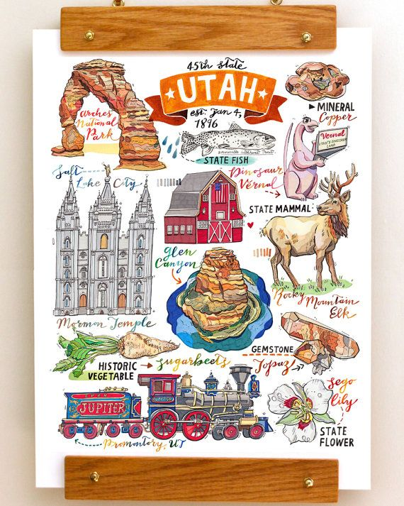 Utah Print. Illustration. Beehive State. Map. State symbols ...