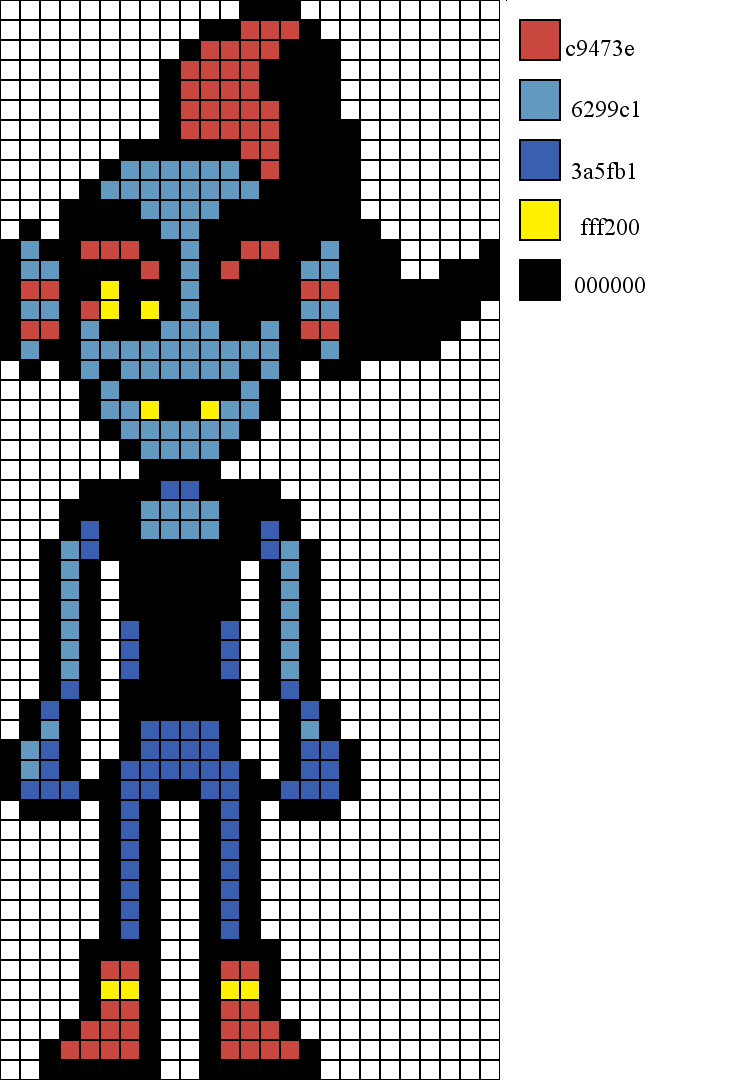 Undyne overworld sprite sprites perler beads and beads for Minecraft skin template grid