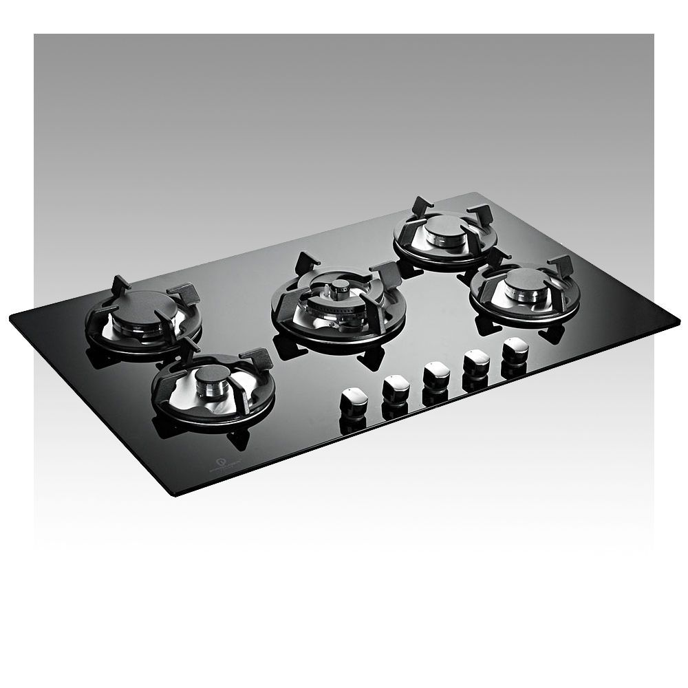 Built In Cookers Part - 32: 5 Ring 70cm Black Glass Built-In FSD Gas Hob P-Series