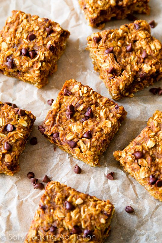 """Soft & chewy pumpkin spice oatmeal bars loaded with chocolate chips. Perfect for """"on the go"""" on those chilly fall days."""