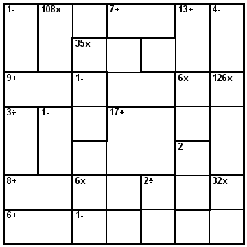 Number Logic Puzzles: 22603 - Kenken size 7