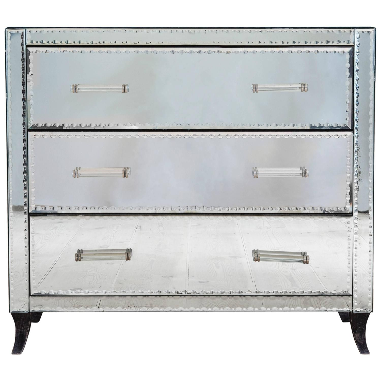 1950s French Mirrored Chest of Drawers From a unique
