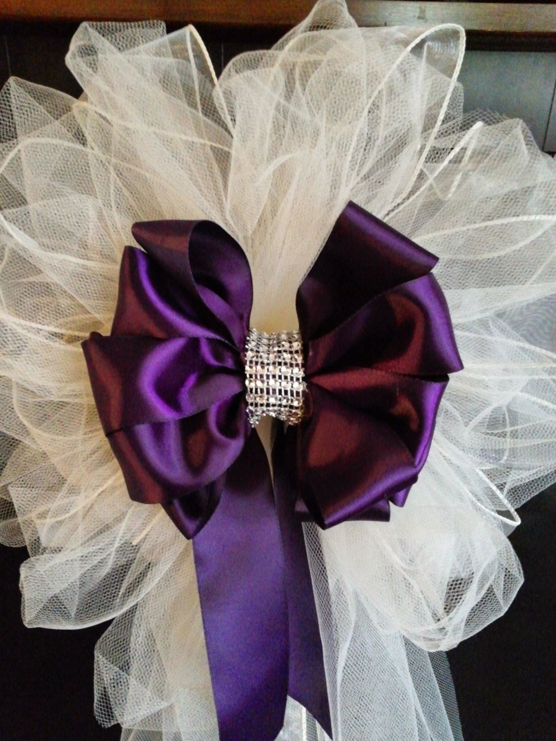 Wedding pew bows any color satin and tulle bows with streamers and set of 10 wedding pew bows any color satin and tulle bows with bling wedding decorations church pew bows dark purple and ivory by asprettydoes on etsy junglespirit Choice Image