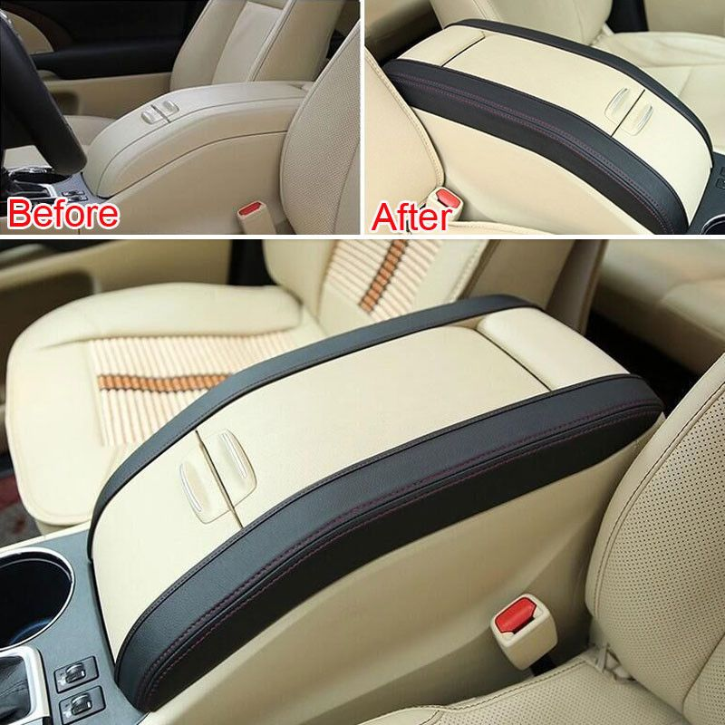2x Fit For 2015 Toyota Highlander Car Console Arm Rest Armrest Lid Side Pad Cover Trim Styling Sticker Leather Affiliate