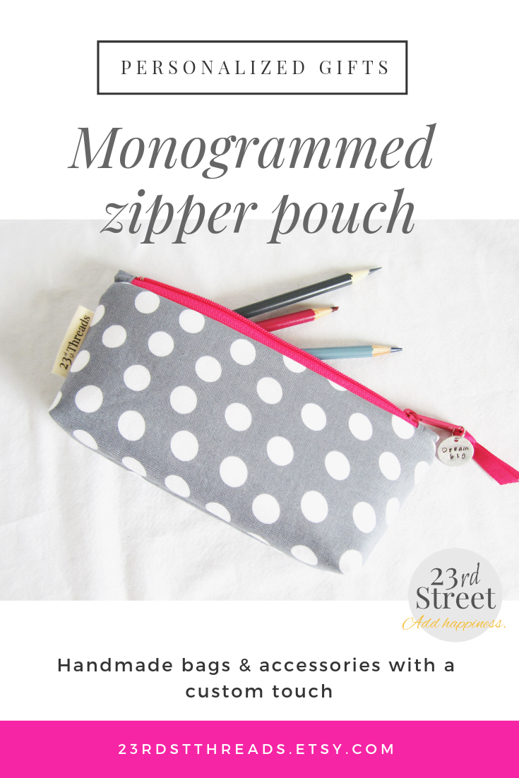 Personalized Zipper Pouch Pencil Case Gray Polka Dots With Pink