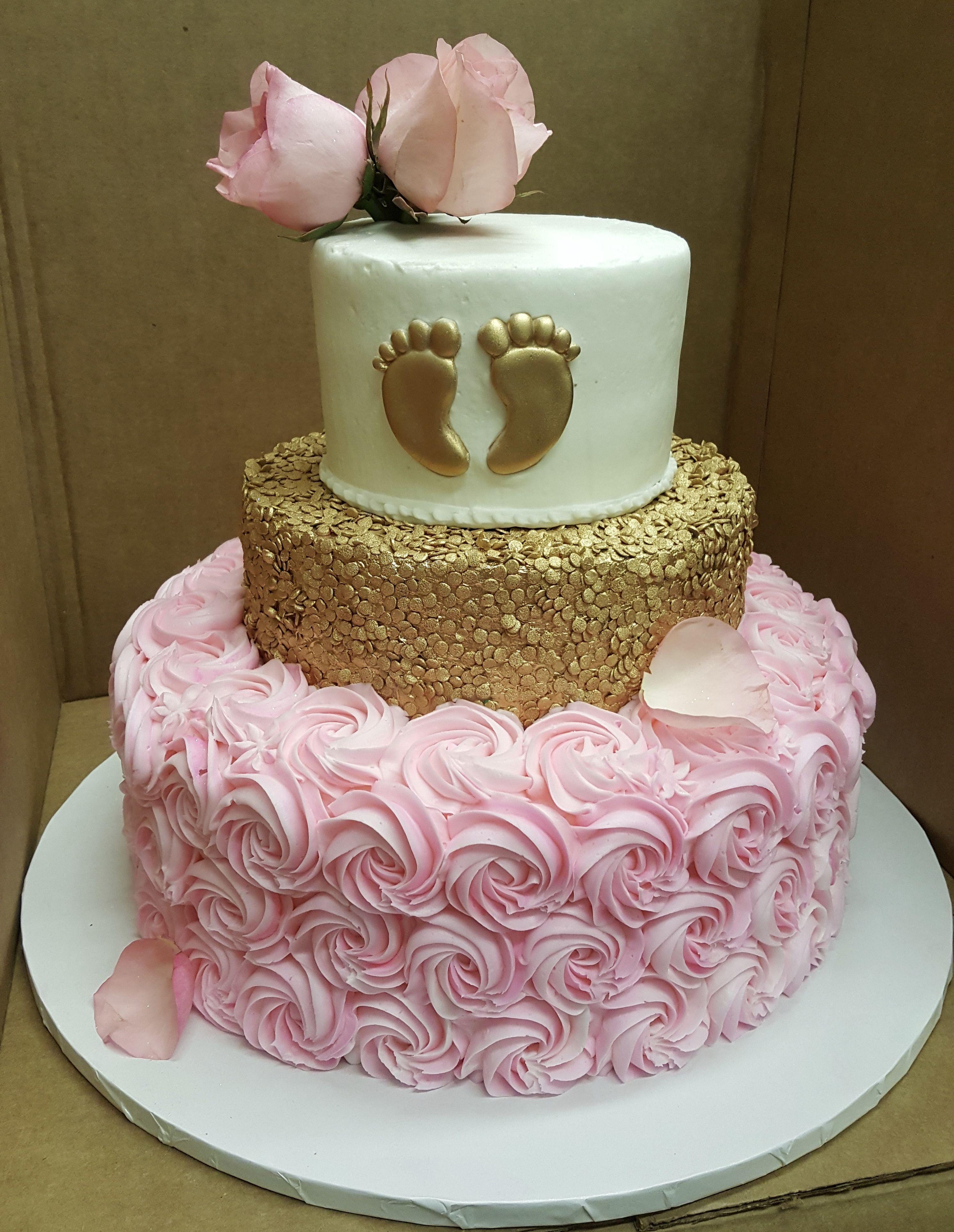 Calumet Bakery Three tier Baby Feet/gold/rosettes