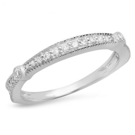 0 30 Carat Ctw 10k White Gold Round Diamond Ladies Anniversary Wedding Band Stackable Ring 1 3 Ct Dazzling Rock With Images Anniversary Wedding Band White Gold Round Diamonds