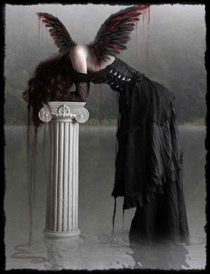 A fallen angel in the darkness | Dark Art    | Sad angel