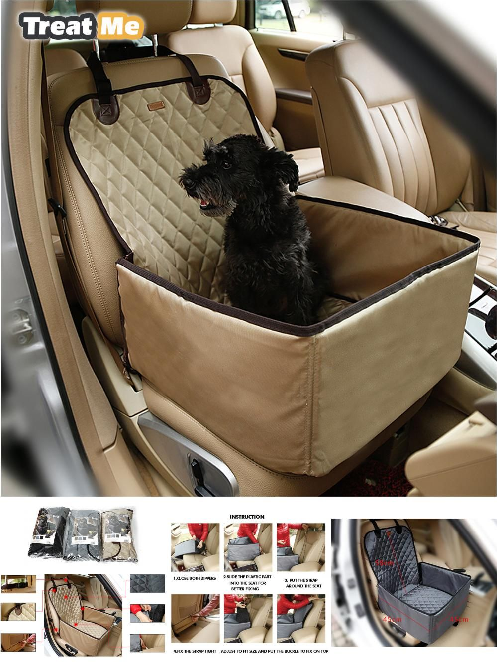 Visit to Buy] Deluxe Pet Dog Car Booster Seat Travel Dog Bster Seat ...