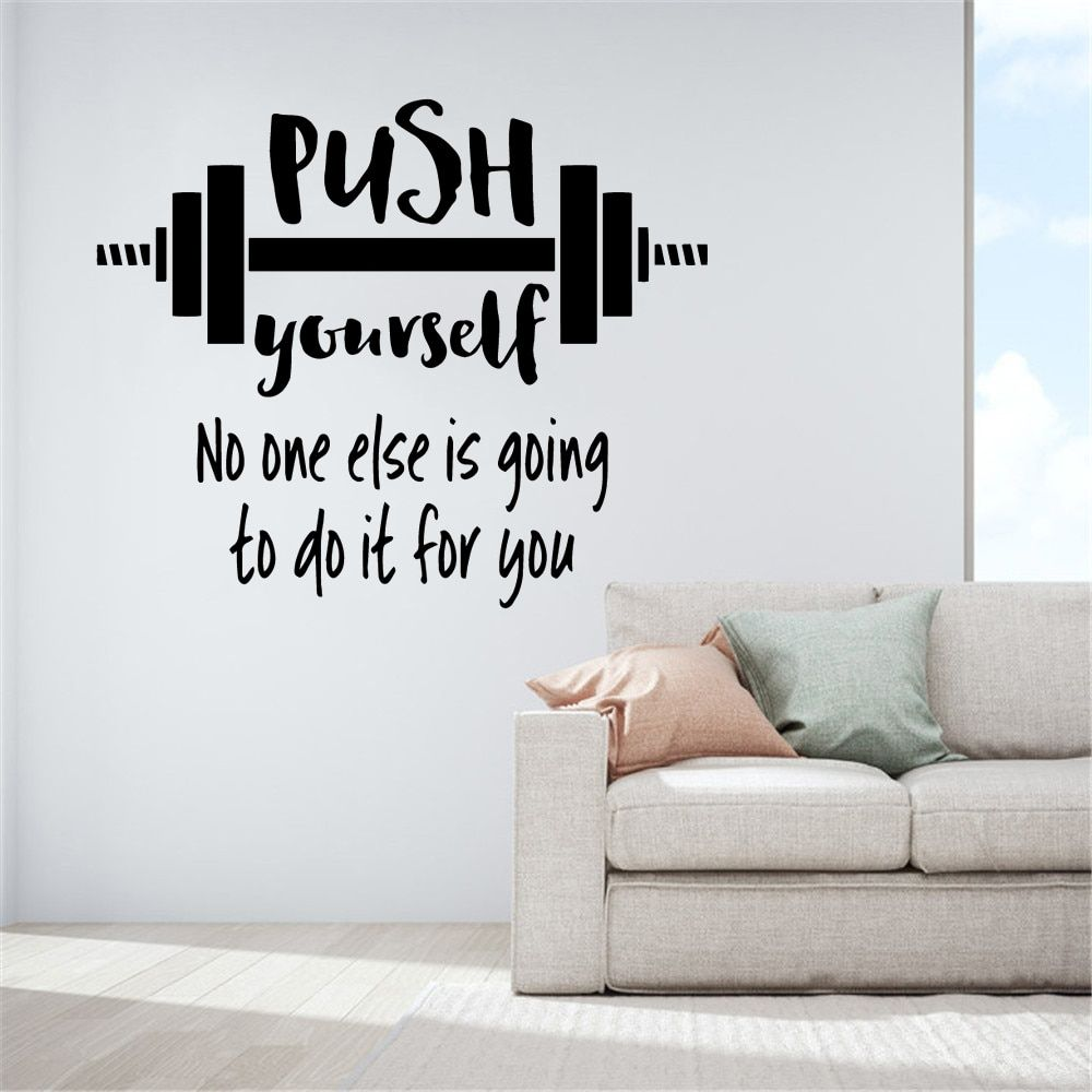 Push Yourself Gym Inspirational Quote Wall Sticker Sports Workout Crossfit Fitness Motivational Saying Vinyl Decal Print Art Room Decor 6fit