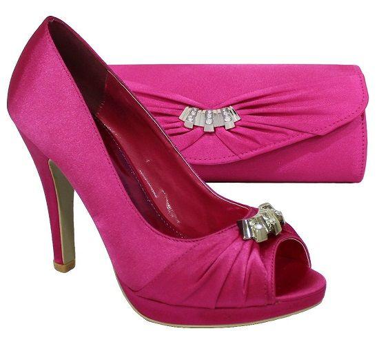 Womens Fuschia Wedding Peeptoe Shoes Matching Bag 1747 Snuggle