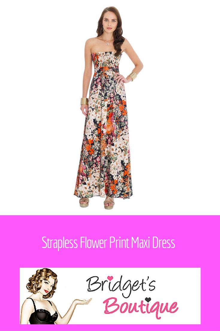Strapless Flower Print Maxi Dress from City Goddess - beautiful print maxi  dress at Bridget s Boutique - perfect for those summer evenings 78204e0c6