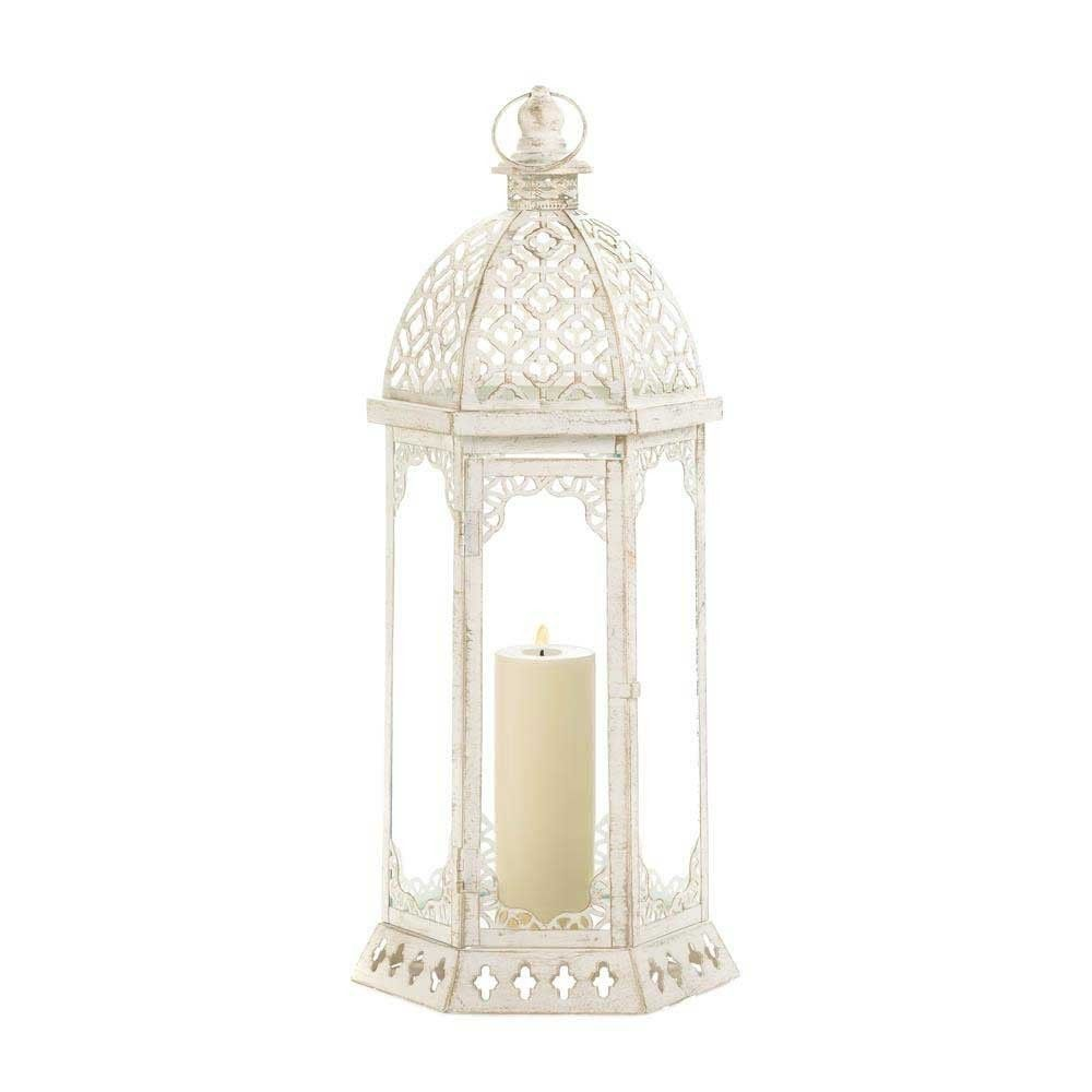 8 Large Distressed White Vintage Look Lantern Wedding Centerpieces
