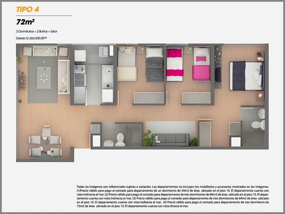 Apartamento de 72m2 planos casa Pinterest House - plan 3 k che