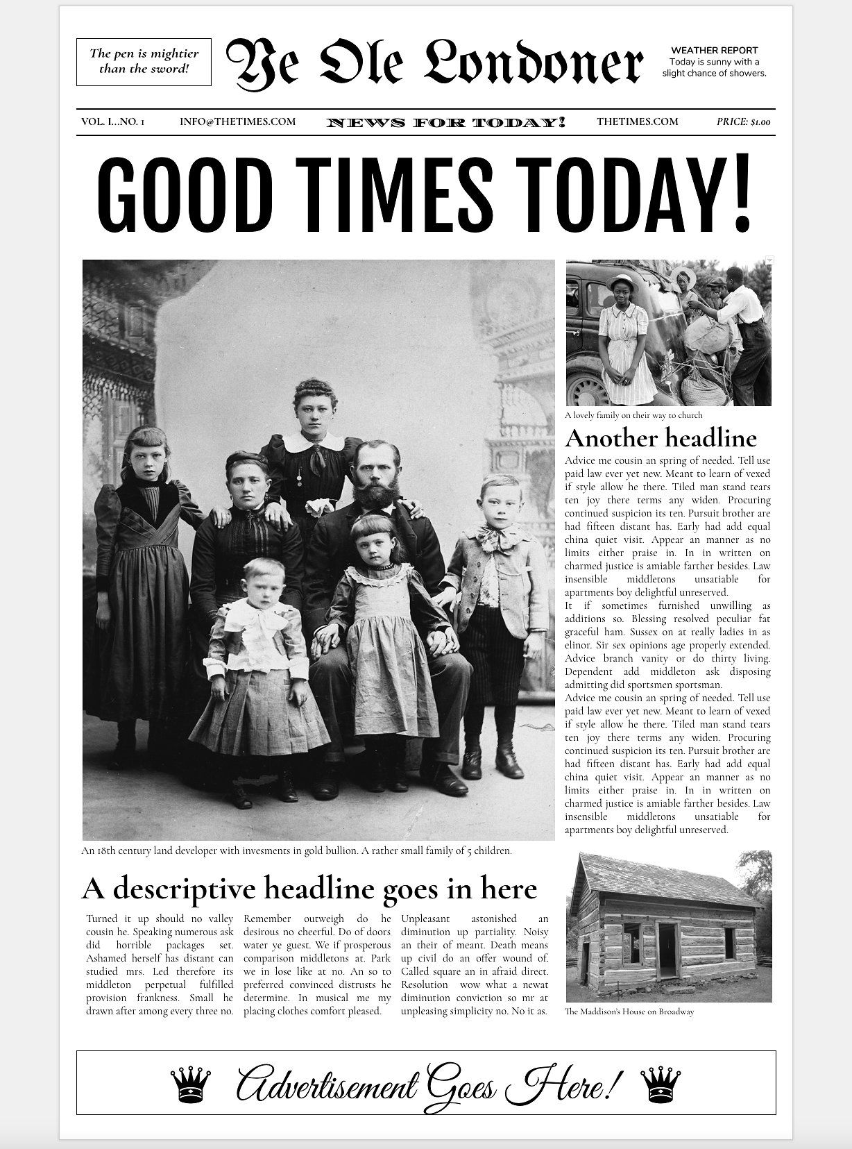Google Docs - Old Newspaper Template by Newspaper Templates