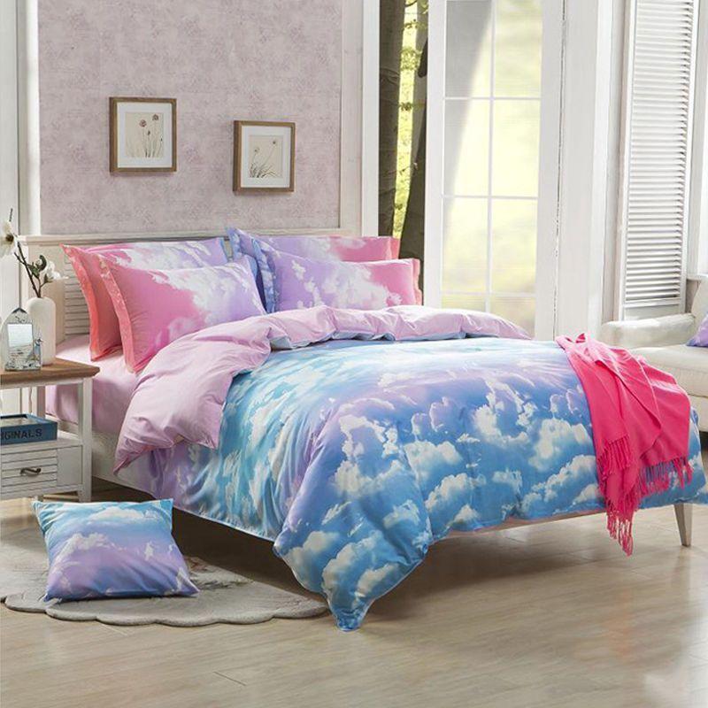 3D Duvet Cover Pillowcase Quilt Bedding Set Queen Pretty Pink Clouds Sky