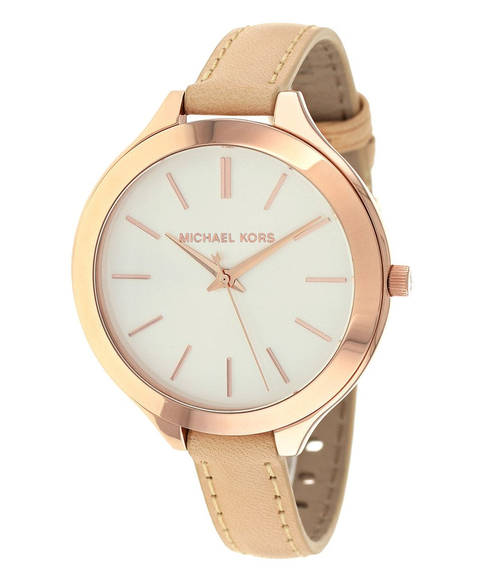 a735aeb2f11e Michael Kors Rose Gold Slim Runway Leather-Strap Watch by Michael Kors   zulilyfinds