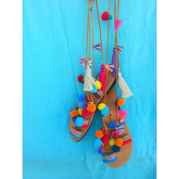 RiRiPoM, Tie Up Gladiator Leather Sandals, Greek Leather Sandals, Boho... (€149) ❤ liked on Polyvore featuring shoes, sandals, embellished sandals, multi colored sandals, leather gladiator sandals, boho sandals and beaded gladiator sandals