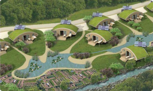 Landark projet de maison en bois cologique construite en kit green roof roof garden and - Maison ecologique en kit ...