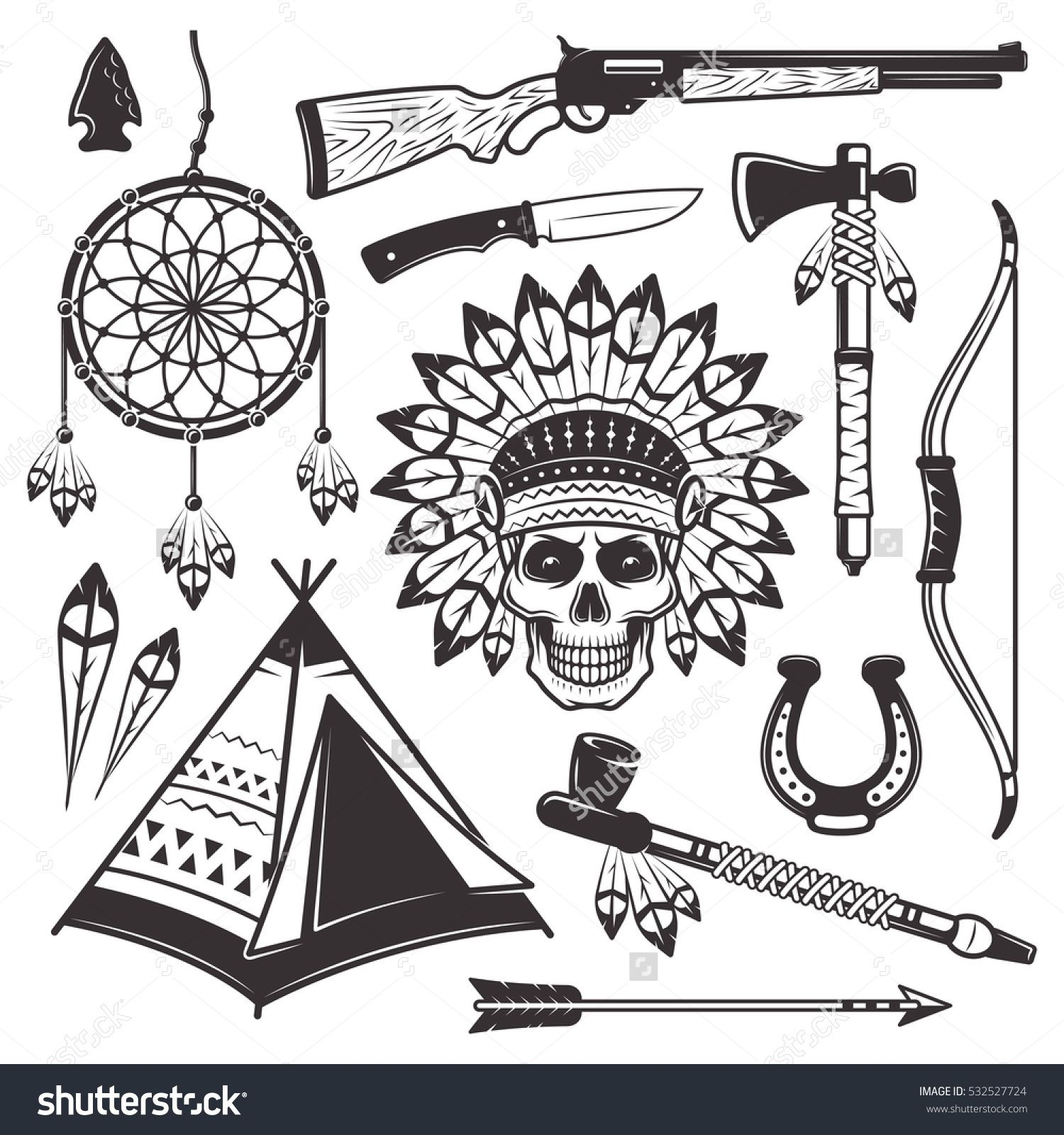 Native american indian set of vector objects and graphic
