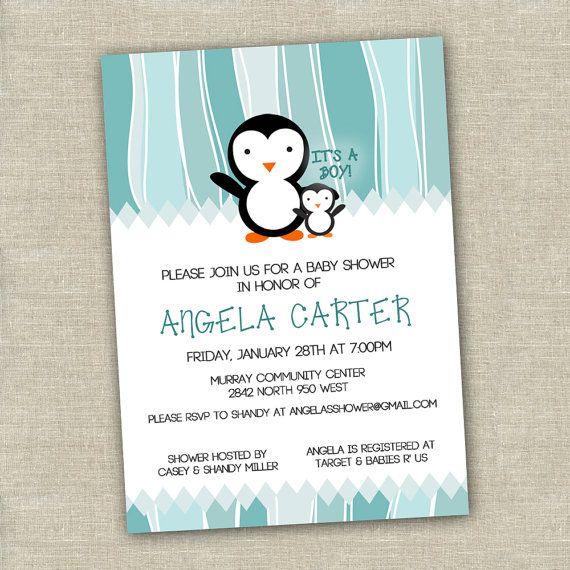 Printable Penguin Baby Shower Invitation Digital By