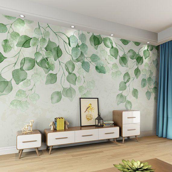 Watercolor Fresh Green Leaves Vine Wallpaper Wall Mural