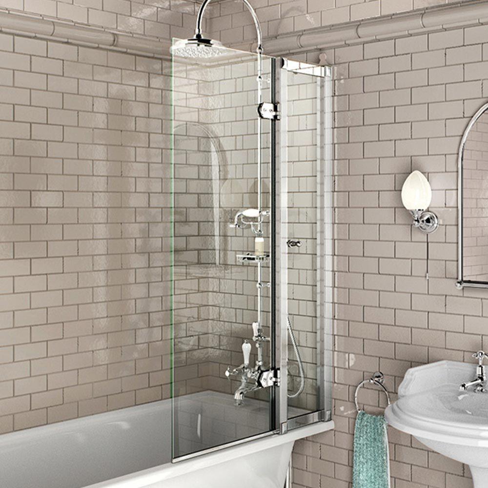 Burlington bath screen with access panel bath shower