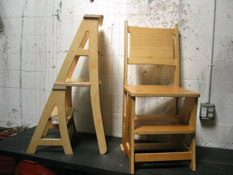 Splendid Wooden Chair Step Stool Combination With Folding Seat For