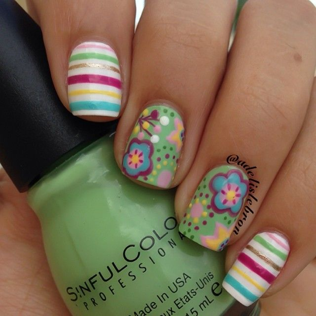 Floral mani using @sinfulcolors Pistache as the base - hope this ...
