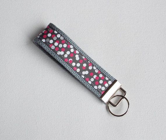 Metallic Silver dots Key FOB /Silver KeyChain / Silver by Laa766  preppy / fabric / cute / patterns / key chain / office, nurse, student id, badge / key leash / gifts / key ring