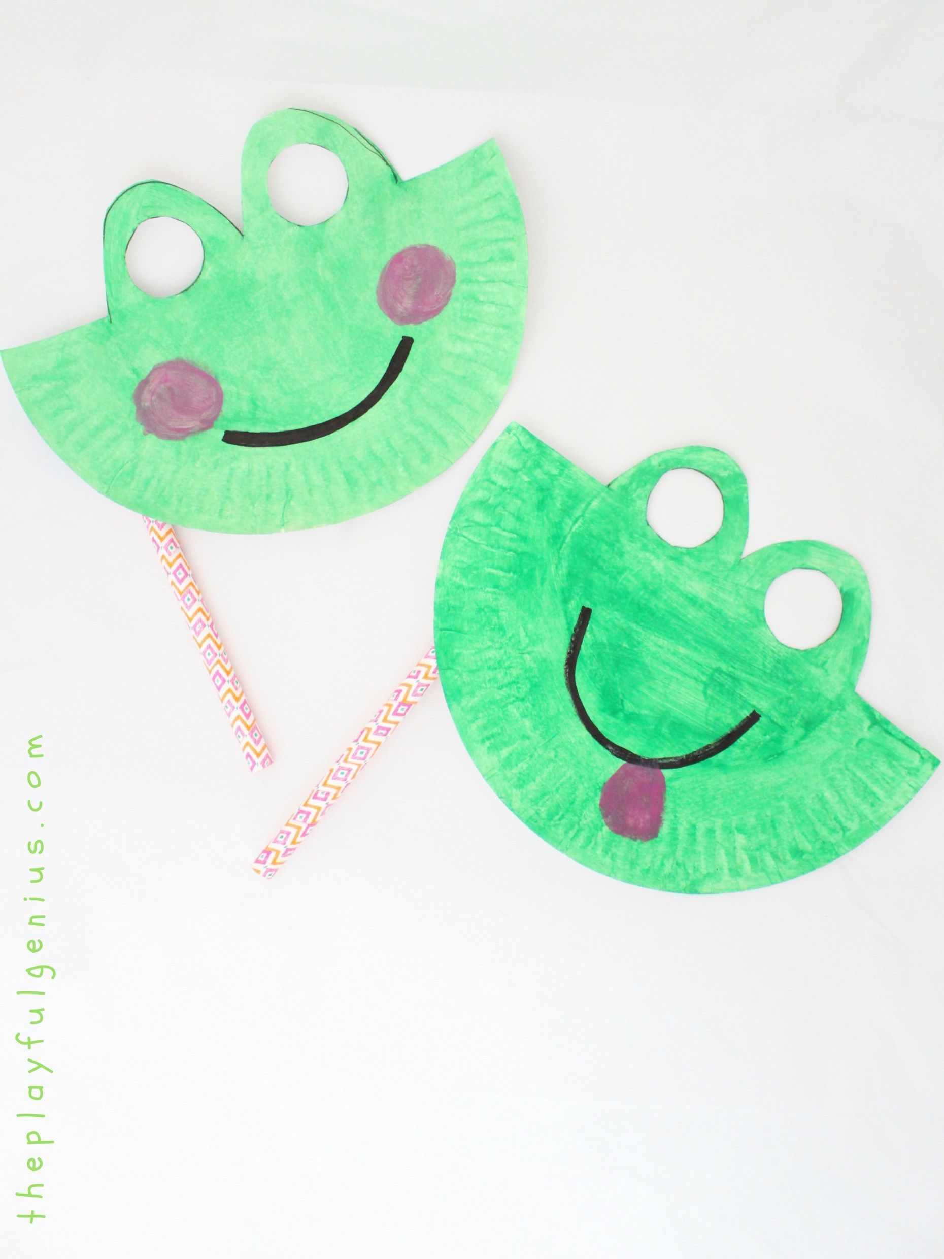 Paper Plate Frog Mask- a book craft inspired by  Froggy Gets Dressed  Plus more frog-themed book recommendations! & Paper Plate Frog Mask- a book craft inspired by