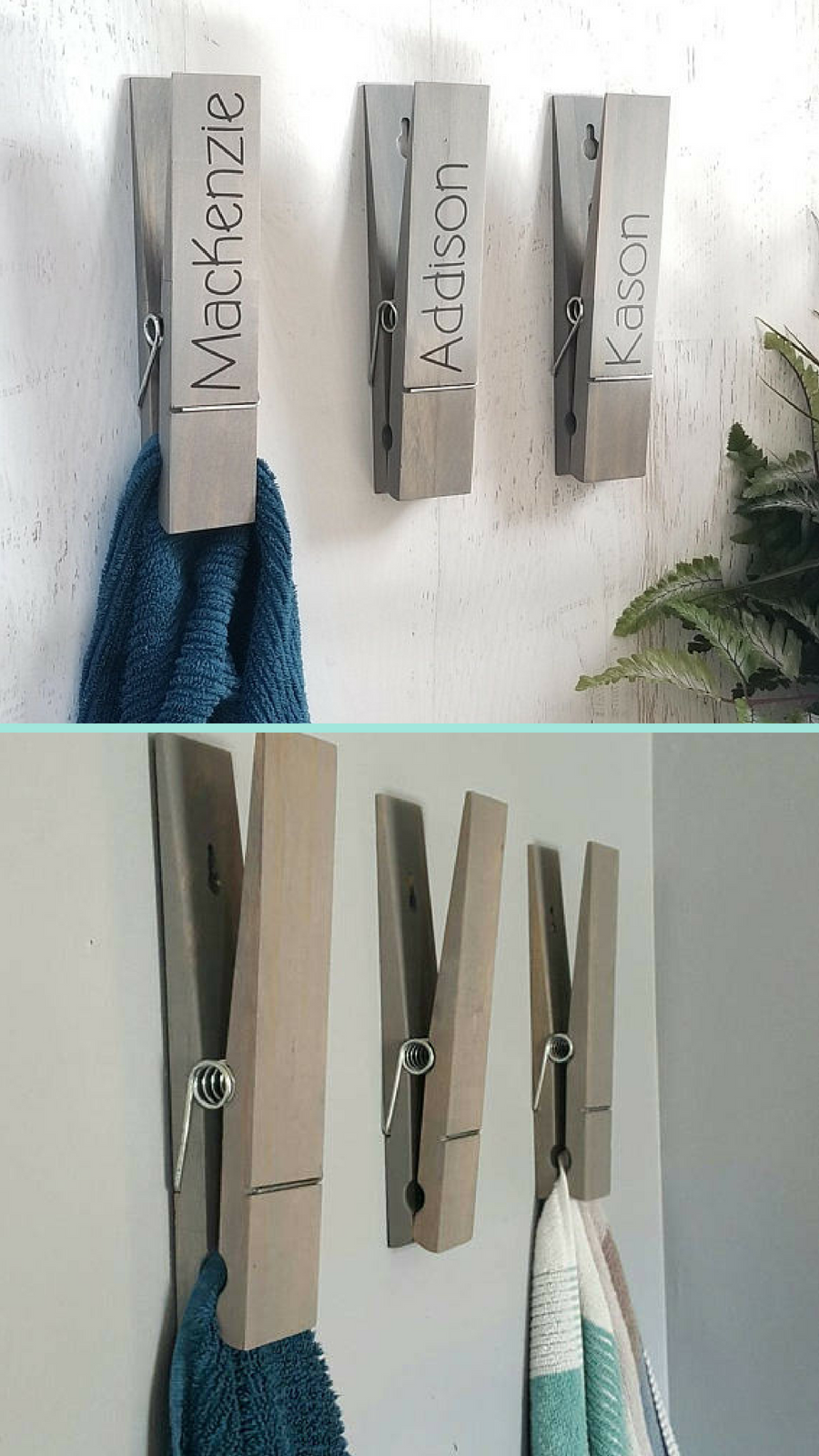 A jumbo clothespin for hanging towels clothespin towel holder bathroom decor towel hook kitchen decor laundry room decor farmhouse decor