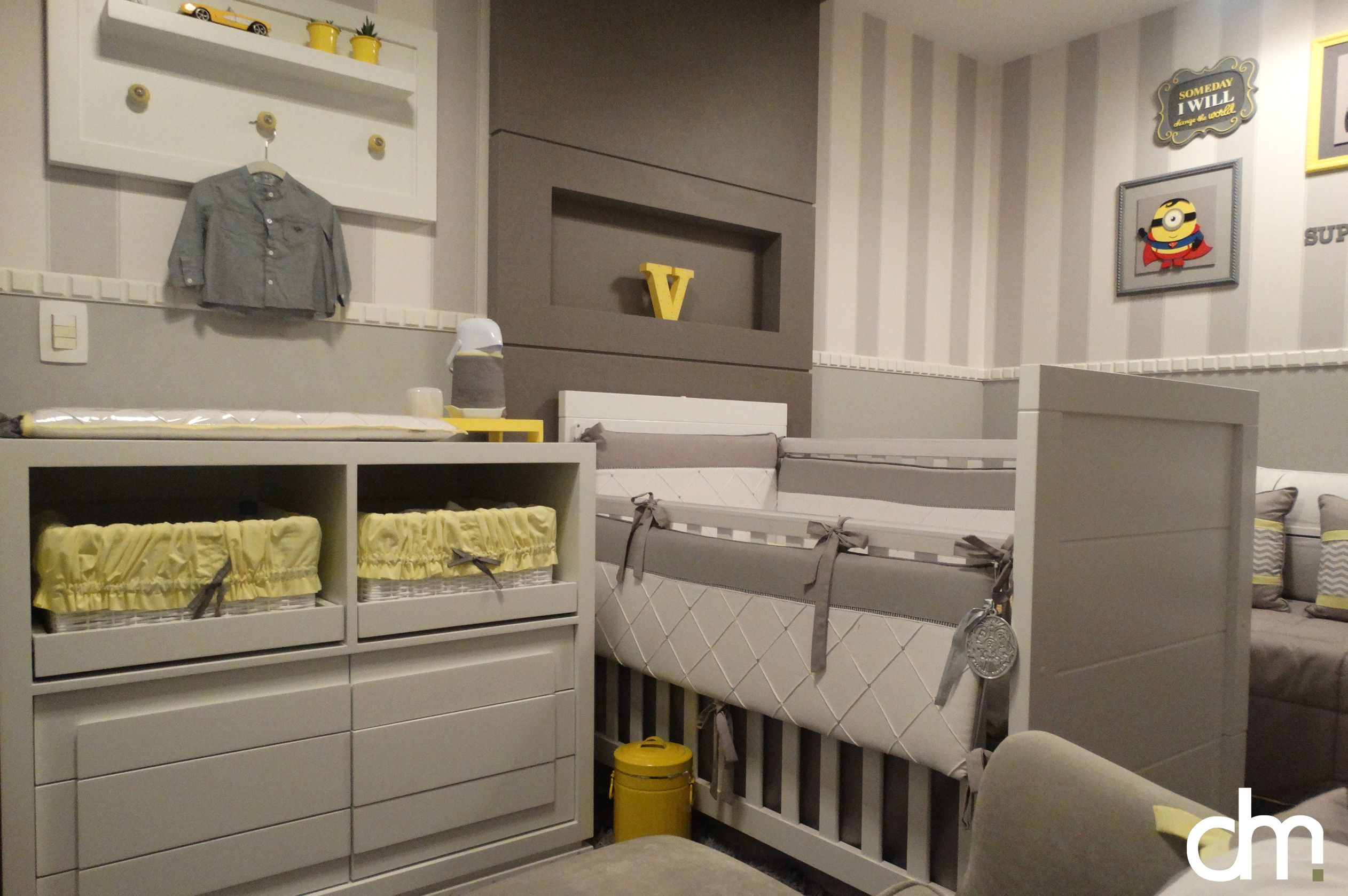 Decora O De Quarto De Beb Em Tons De Cinza Amarelo E Branco  ~ Cortinas De Luxo Para Quarto E Quarto Amarelo E Branco