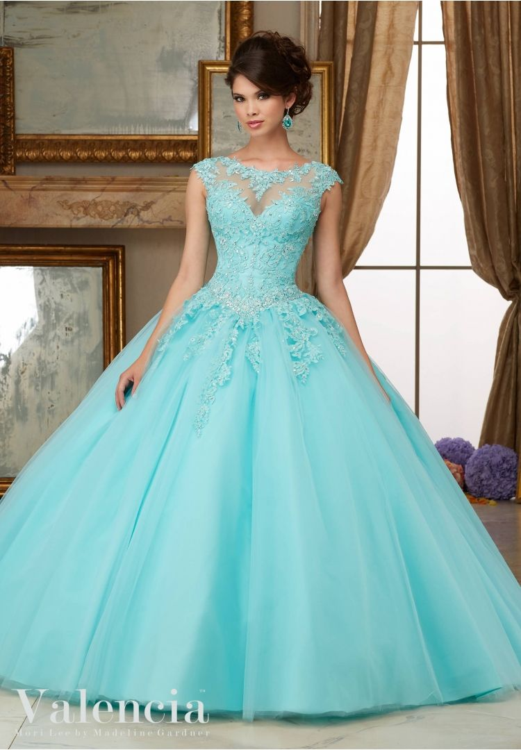 Simples Do Aqua Vestidos Quinceanera Barato Alta neck Lace Appliqued ...
