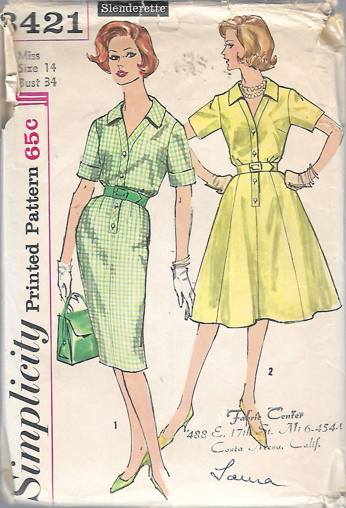 Vintage 1960 Simplicity 3421 One-Piece Shirt Dress With Two Skirts ...