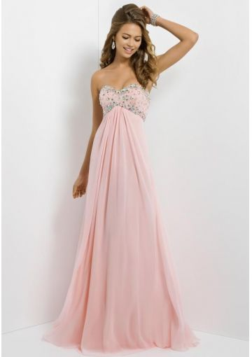 2014 A-line Empire Waist And Strapless Sequins Bodice Pink Chiffon ...