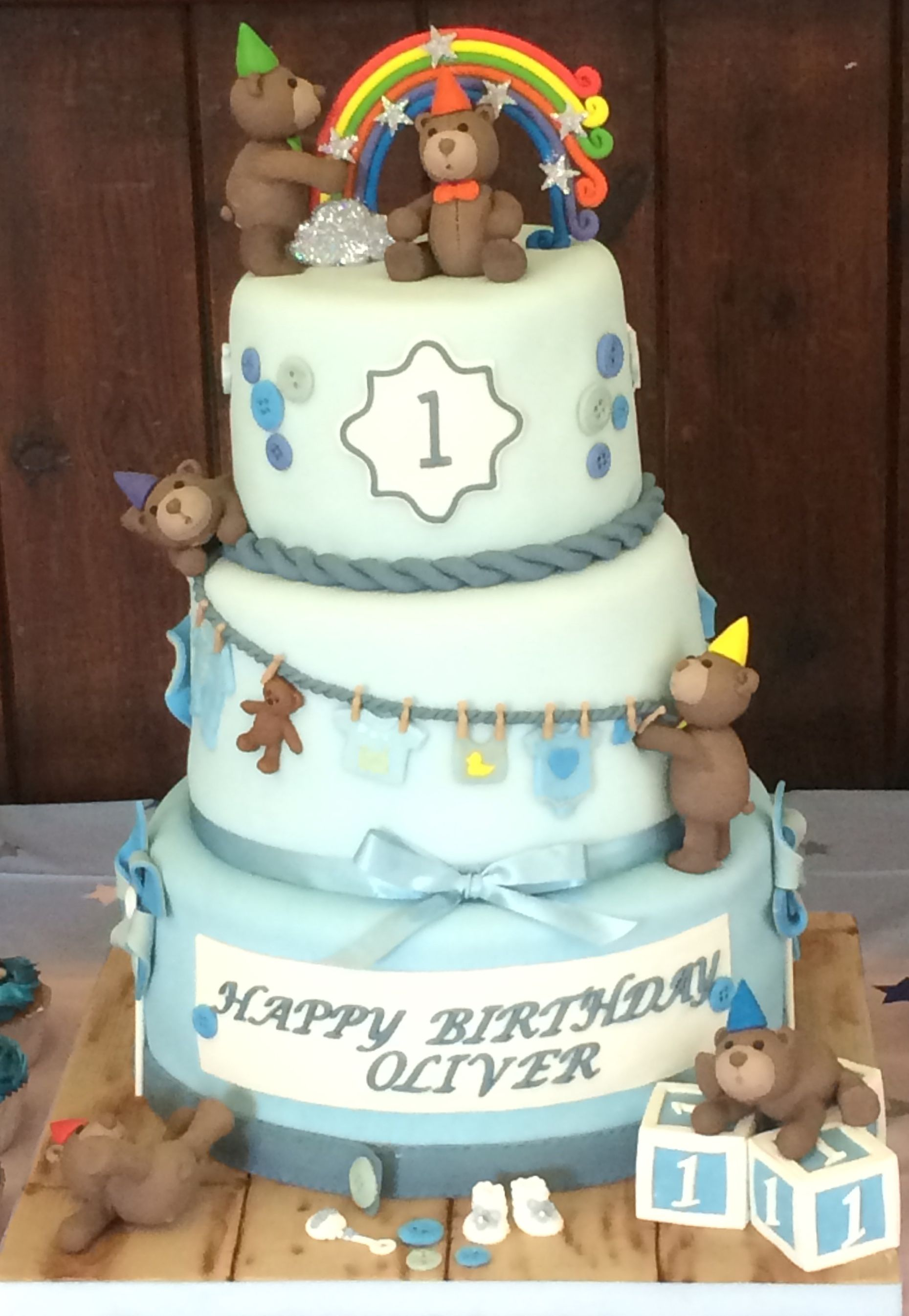 Baby Boy 3 Tier 1st Birthday Cake With A Teddy Bear Theme Natalie