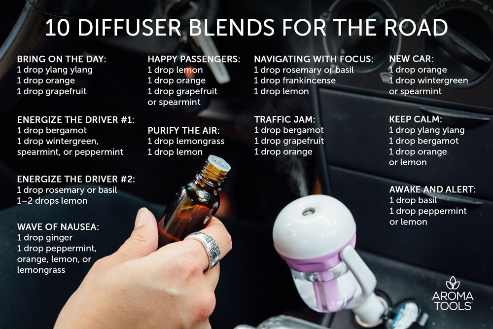 10 Diffuser Blends For The Road Essential Oil Diffuser Blends Essential Oil Diffuser Recipes Diffuser Blends