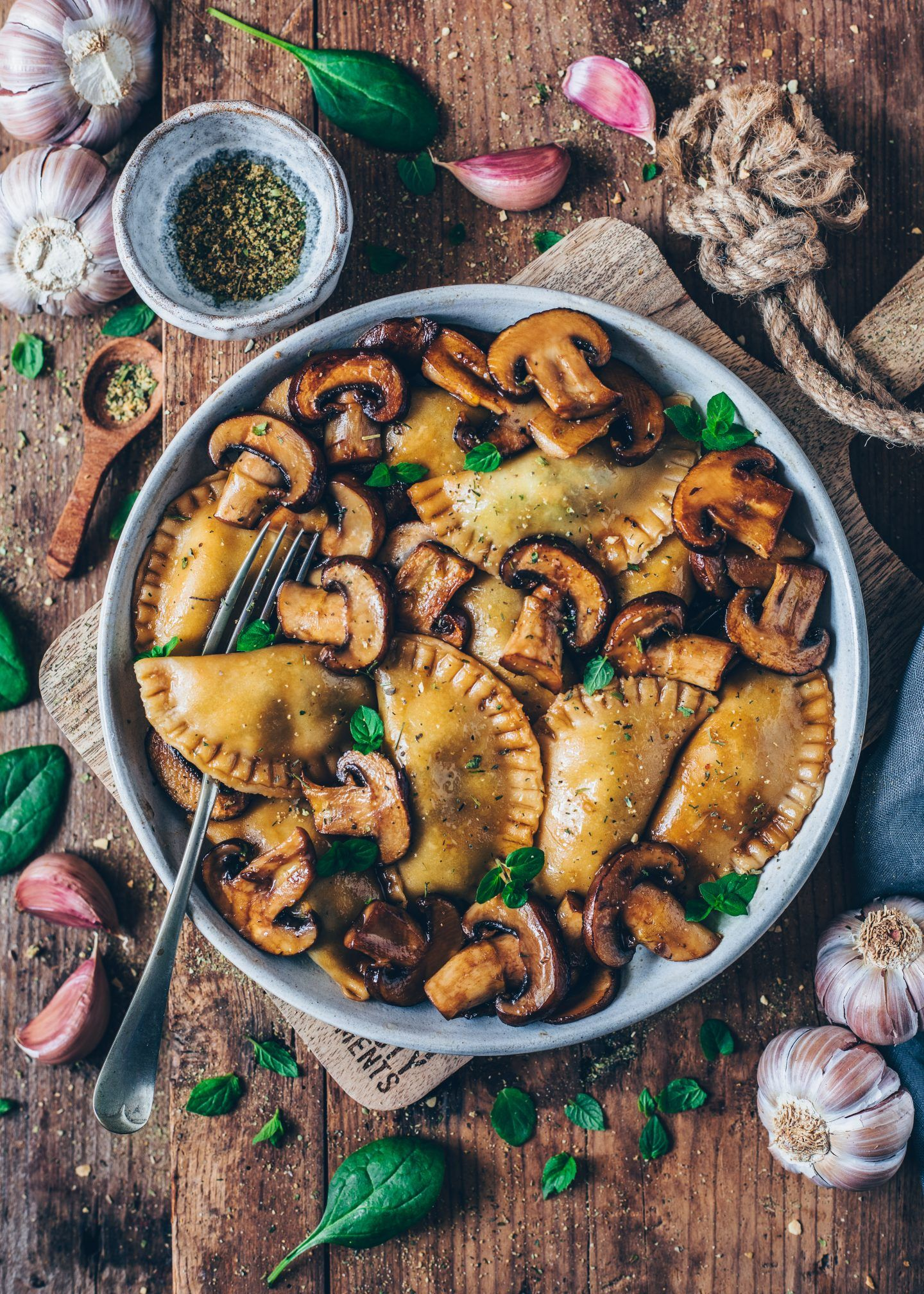 Spinach Ravioli With Mushrooms Vegan