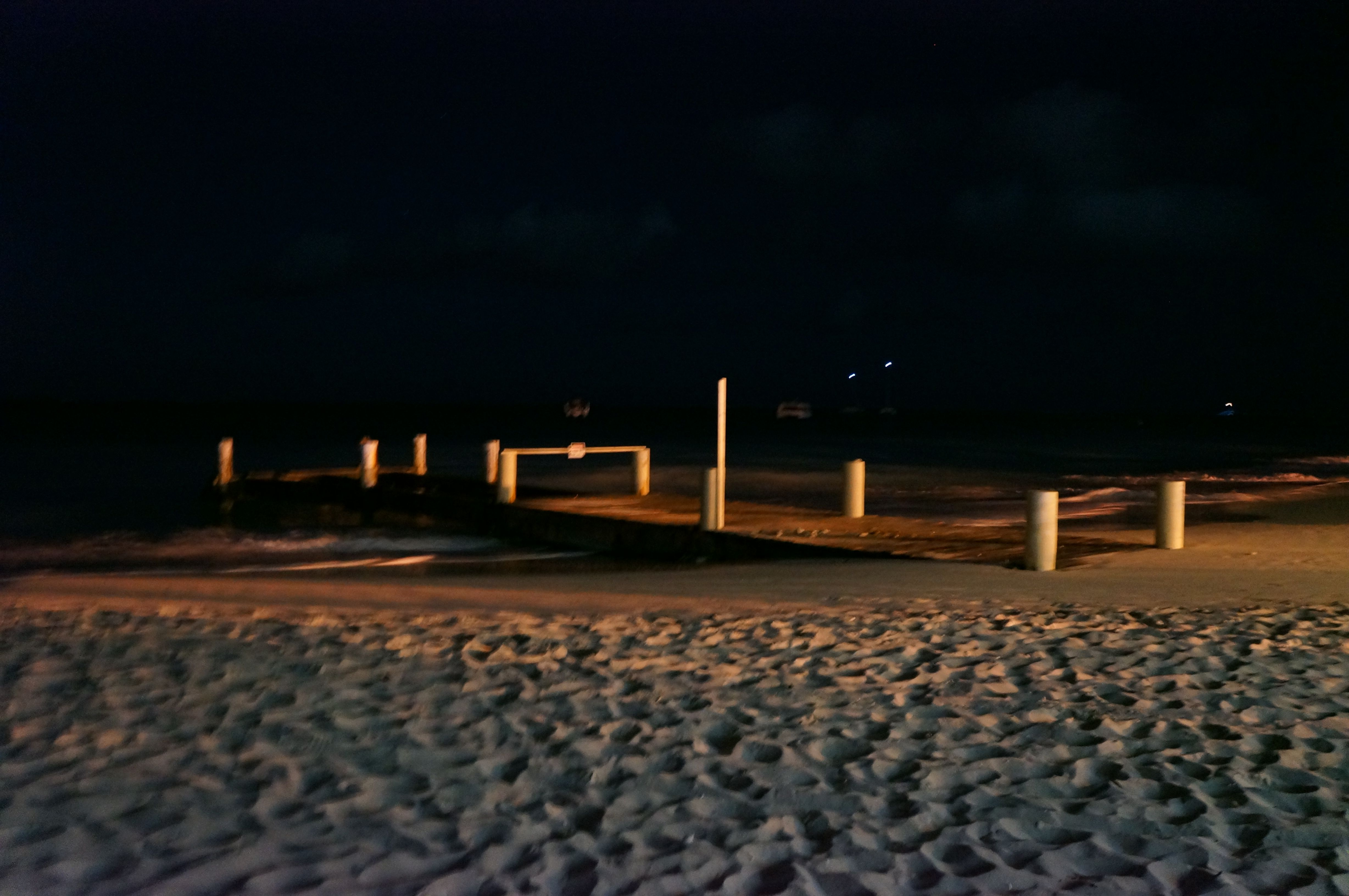 Night beach behind the beach party at Club Med, Turks and