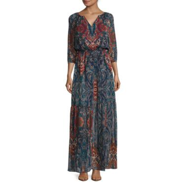 jcp | a.n.a® Long-Sleeve Tiered Maxi Dress