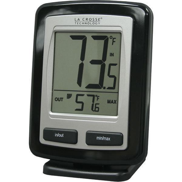 La Crosse Wireless Remote Thermometer Black In And Outside Temp Farenheit New #LaCrosseTechnology