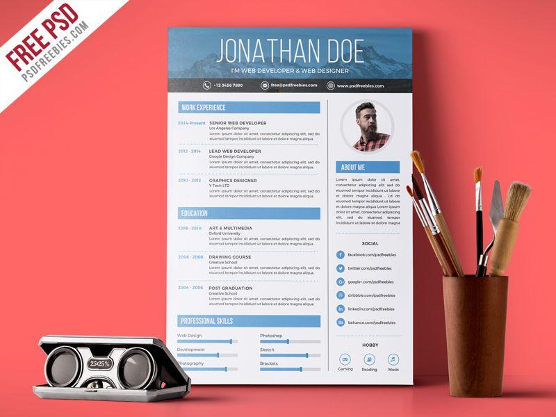 Creative Graphic Designer Resume Psd Template Graphic Design