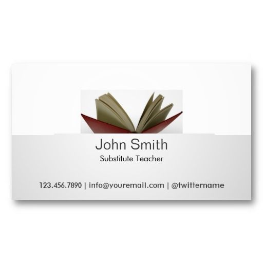 Subtle open book substitute teacher business card substitute subtle open book substitute teacher business card accmission Image collections