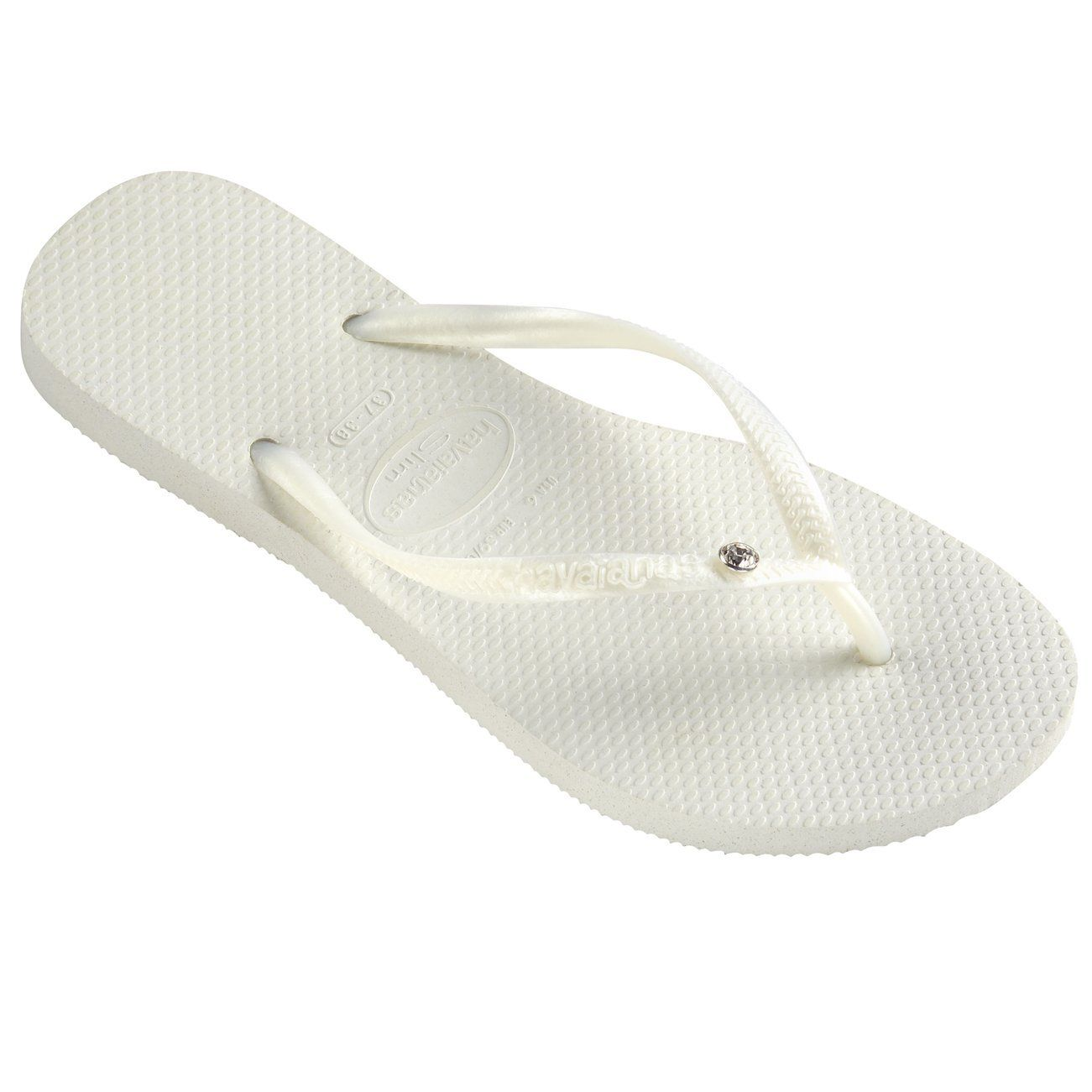 2e21a503fecd Womens Havaianas Slim Crystal Glamour Sw Thongs Rubber Diamond Flip Flop -  White - 7 8    Can t believe it s available