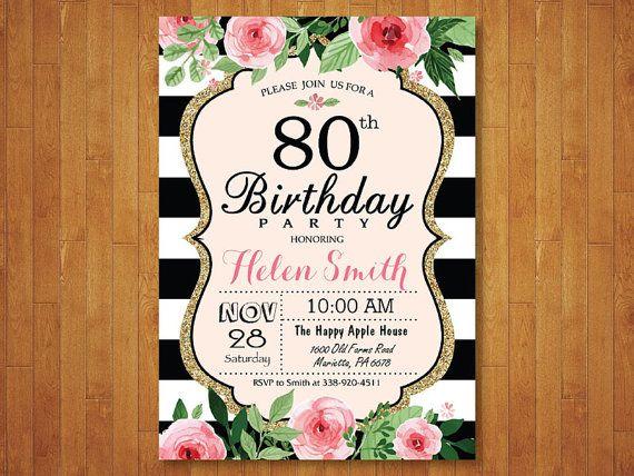 Pin De Jody Nolan En Moms 80th Invitacion Cumpleaños
