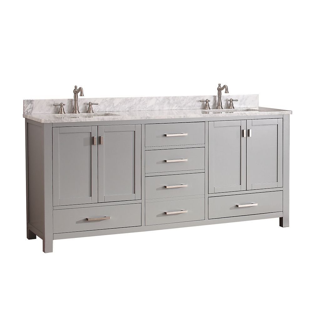 Modero 72 In Vanity In Chilled Gray With Marble Vanity Top In