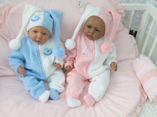 Reborn Puppen Puppen Babys Gr ca.50//56 Langarmstrampler 3-teilig für Babys