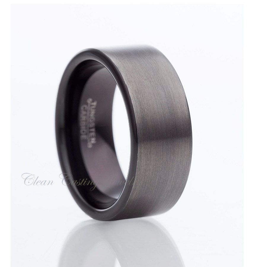 Gun Metal Two Tone Tungsten RingBlack by CleanCastingJewelry